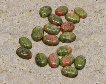 1 cabochon stone semi-precious unakite 13 X 18 mm