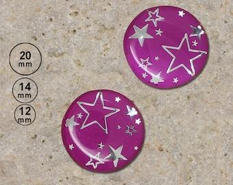 2 silver stars, dark purple 20 mm 14 mm 12 mm cabochons