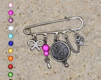 Brooch pin silver 14 mm cabochon