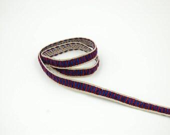 ethnic woven velvet Blue 10 mm Ribbon 20 cm