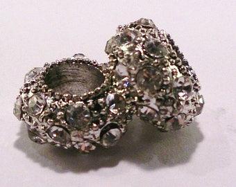 Rhinestone charm Silver's transparent (56 c) European bead