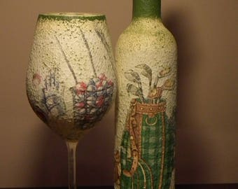 Golf decor decoupage wine bottle and glass set