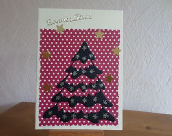 "card ""happy holidays"" with red paper with white polka dots and black tree"