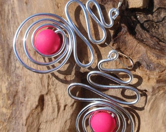 Silver Aluminum and bead series neon pink Fuchsia earrings, silver attachment