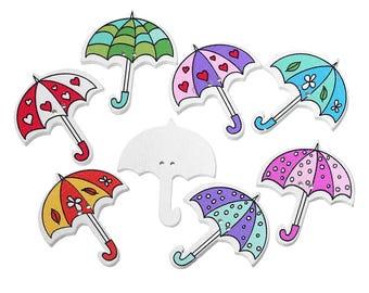set of 10 wooden umbrella buttons