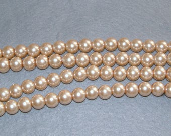 beige glass Pearl 40 round glass beads Pink 8 X 8 mm.