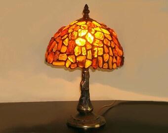 Tiffany Amber Lamp 8'', Tiffany Desk Lamp, Tiffany Lamp, Desk Lamp, Lamp, Baltic Amber