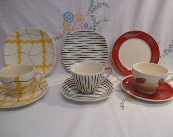 Three Cup, Saucer, Tea Plate, Trios - 1950's Design - For Display Only -At Fault