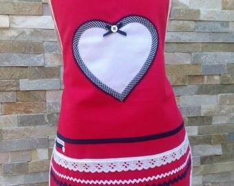 Girl apron handmade apron pink Teflon treated cotton, original girl apron, adjustable links