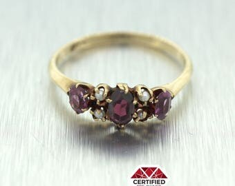 1890s Antique Victorian Solid 14k Yellow Gold Seed Pearl and Tourmaline Ring