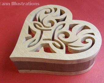 Medieval fretwork heart box