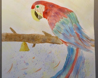 Paint drawing Macaw watercolor and ink on paper