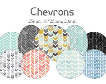 """Cabochons collage sheet / digital """"Chevron"""" round and oval"""