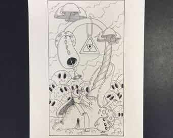 20-Le Jugement, Illustration originale à l'encre noire