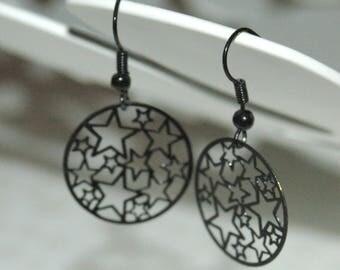 """Little star"" black metal filigree earrings"