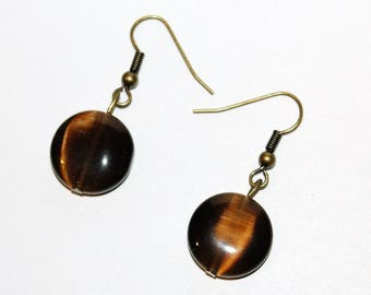 Earrings chocolate flat beads