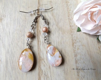 Threader earrings drop color pink powder