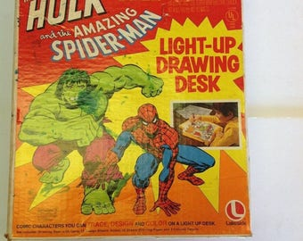Incredible Hulk and Amazing Spider-Man Light Up Drawing Desk | Original Box | Marvel Mania | 1970s |