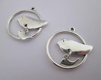 2 breloque oiseau perchoir 26 x 25 mm en métal argenté