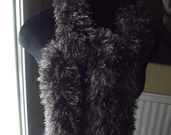 chocolate color faux fur scarf
