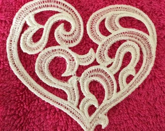 Ecru lace heart