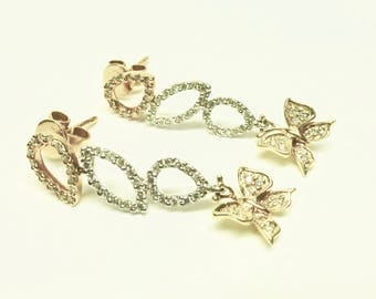 Butterfly Design Dangling 18K Diamond Gold Earrings!!