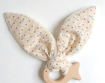 Teething rattle wooden fish
