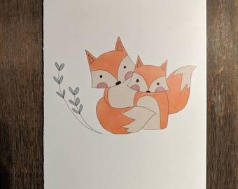 Mama Fox & Baby Fox Note Card