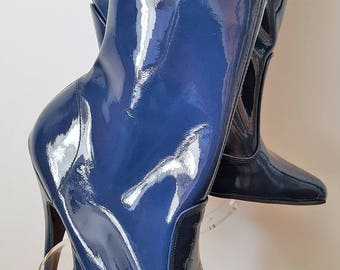 Sexy Blue Patent Leather Stiletto High Heeled Ankle Boots with inside zip UK 9 EU 42