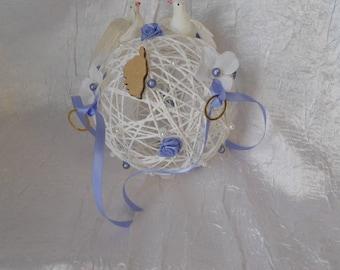 Lavender blue and white rattan ball holder for wedding