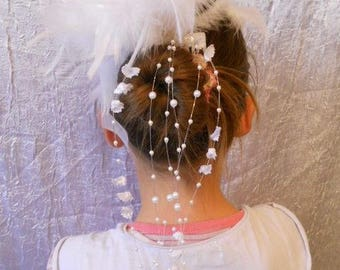 Headpiece comb wedding flower and feathers