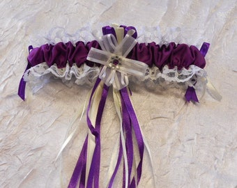 Color bridal garter ivory white and eggplant