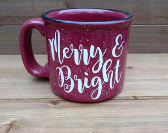 Merry and Bright Campfire Mug - Winter Coffee Mug, Winter Mug, Coffee Lover Gift, Winter, Gift, Winter Decor