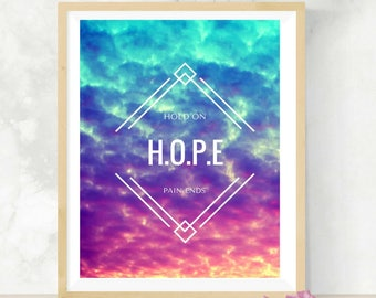HOPE   Hold On Pain Ends   Mental Health Awareness   Inspiration Print   Sunset Photography   8x10 Digital Print   Support for Depression