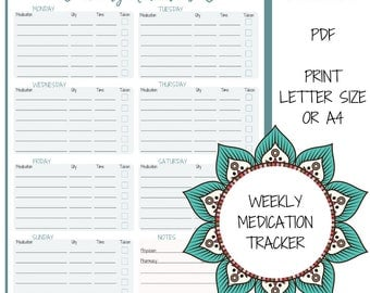 Weekly Medication Tracker | Instant Download Medicine Chart |  Weekly Medication Log | Boho Planner Design | Medication Planner Insert