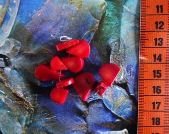 Set of 10 Red bamboo coral, free form beads