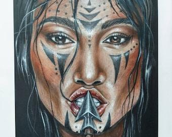 Savage. Colored Pencil Original Drawing . Native American. Prismacolor Pencils Drawing