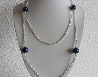 Collar NECKLACE 100 cm elegant, silver plated chain, beautiful blue lapis lazuli beads