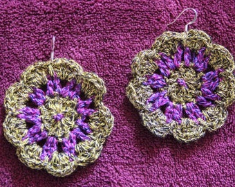 Crochet mustard flower and purple earrings