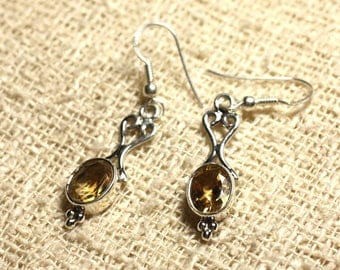 BO208 - 925 Silver 26mm Silver earrings - Citrine faceted 8x6mm