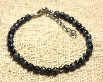 925 sterling silver and semi precious 4mm snowflake Obsidian stone bracelet