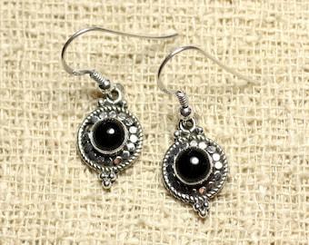 BO210 - circles 19mm Onyx 925 Silver earrings