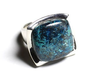 N222 - 925 sterling silver ring and stone - 20mm square Azurite