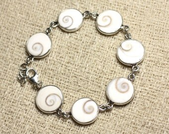 St. Lucia 13mm round Shiva eye 925 silver bracelet