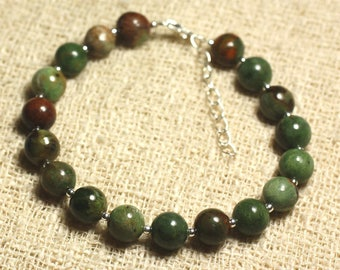Bracelet 925 sterling silver and gemstone - Opal Green 8 mm