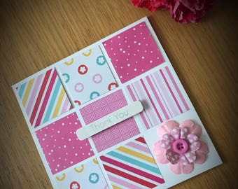 Patchwork Square Thank You Card