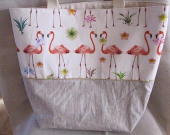 Pink flamingos beige tote bag