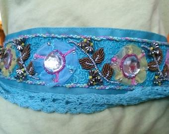 Stones and crochet beads hand sewn blue satin belt
