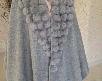 Cape with rabbit fur PomPoms grey one size