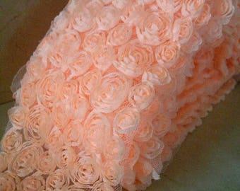 Ribbon lace flowers organza 10/11 cm width 50 cm